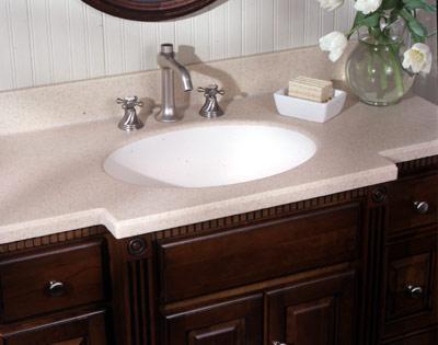Столешница для ванной может быть прямой , а раковина овальной