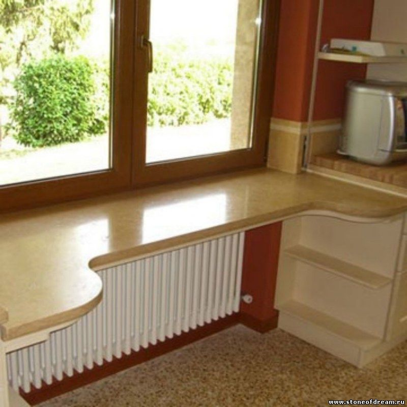 подоконники из искусственного камня на кухне